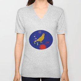 Bird and blossom electric blue Unisex V-Neck
