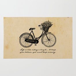 Albert Einstein - Life is Like Riding a Bicycle Rug