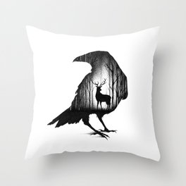 THE RAVEN AND THE DEER Throw Pillow