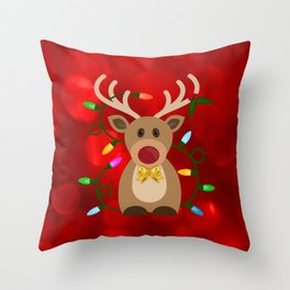 Christmas Reindeer in Lights Throw Pillow