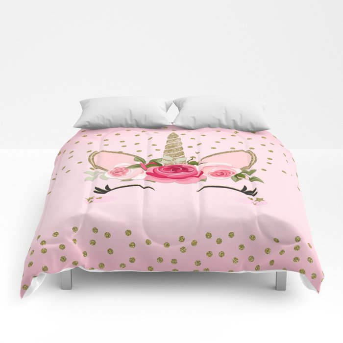 Pink Gold Cute Floral Unicorn Comforters By Christyne Society6
