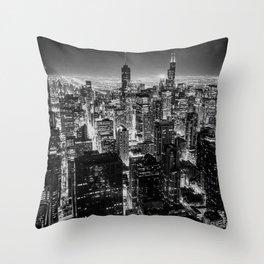 Nighttime Chicago Skyline Throw Pillow