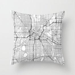 Minneapolis Map White Throw Pillow