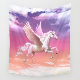 Flying unicorn at sunset Wall Tapestry