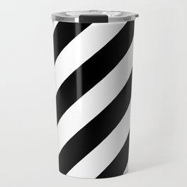 Diagonal Stripes Black & White Travel Mug