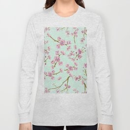 Spring Flowers - Mint and Pink Cherry Blossom Pattern Long Sleeve T-shirt