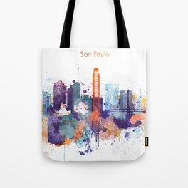Colorful San Paulo skyline design Tote Bag