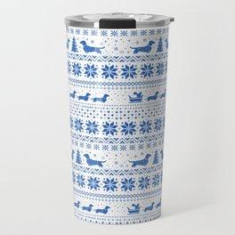Love Joy Peace Wiener Dogs Blue Pattern Travel Mug