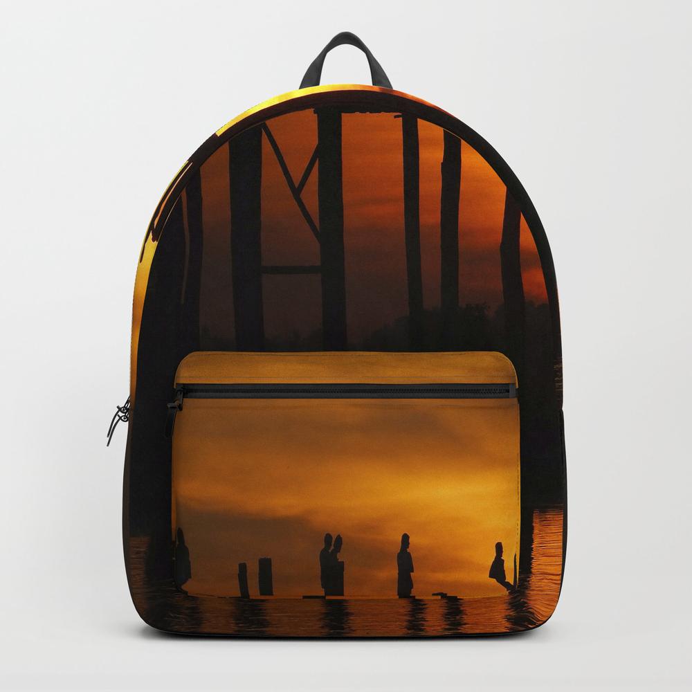 Sunset At U Bein Bridge, Myanmar Backpack by Kurtvanwagner BKP8479240