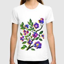 Blue Pink Yelow Flower Branch Clip Art T-shirt