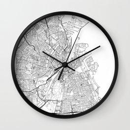 Copenhagen Map White Wall Clock