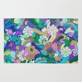 Colorful Wild Flowers Collage Rug