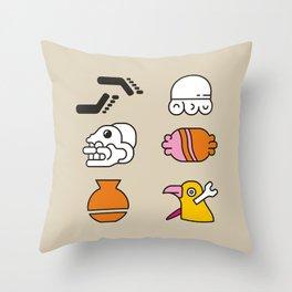 AZTEC~Nahuatl Glyphs Throw Pillow