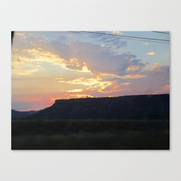 Sunset behind Table Rock in Oregon Canvas Print