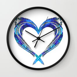 Romantic Abstract Heart Art - Big Blue Love - Sharon Cummings Wall Clock