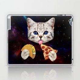 Space Cat with taco and pizza Laptop & iPad Skin