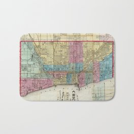 Vintage Map of Chicago (1869) Bath Mat