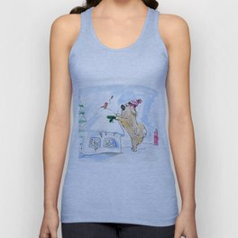 Winter Wonderland Tibbie in a Knitted Hat Enjoying the Snowy Day Unisex Tank Top