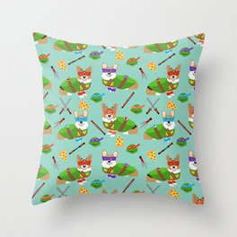 Teenage Mutant Corgis - corgi, dog, dogs, dog costume, halloween, comic, comic-con, cute dog Throw Pillow