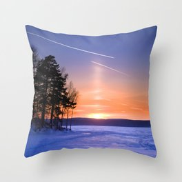 Сolumn of light and contrails Throw Pillow