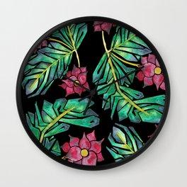 black tropical watercolor floral Wall Clock