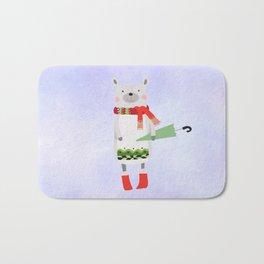 Cute Bear in Winter Wear Holding Umbrella Bath Mat