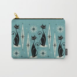 Mid Century Meow Retro Atomic Cats on Blue Carry-All Pouch