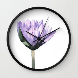 Purple Water Lily in Watercolor Wall Clock