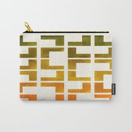 Geometric Pattern L Shaped Watercolor Painting Olive Green Yellow Ochre Colorful Pattern Art Carry-All Pouch