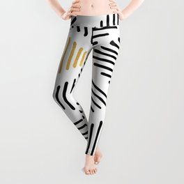 Simple Geometric Zig Zag Pattern - Black Gold White - Mix & Match with Simplicity of life Leggings