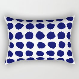 Aria - indigo brushstroke dot polka dot minimal abstract painting pattern painterly blue and white  Rectangular Pillow