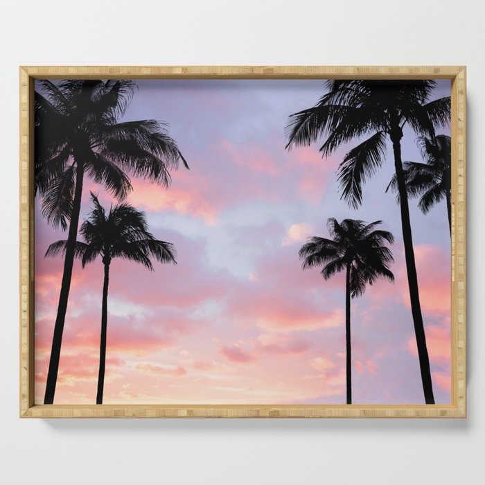 Palm Trees and Sunset Serving Tray
