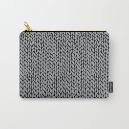 Hand Knit Grey And Black Carry-All Pouch
