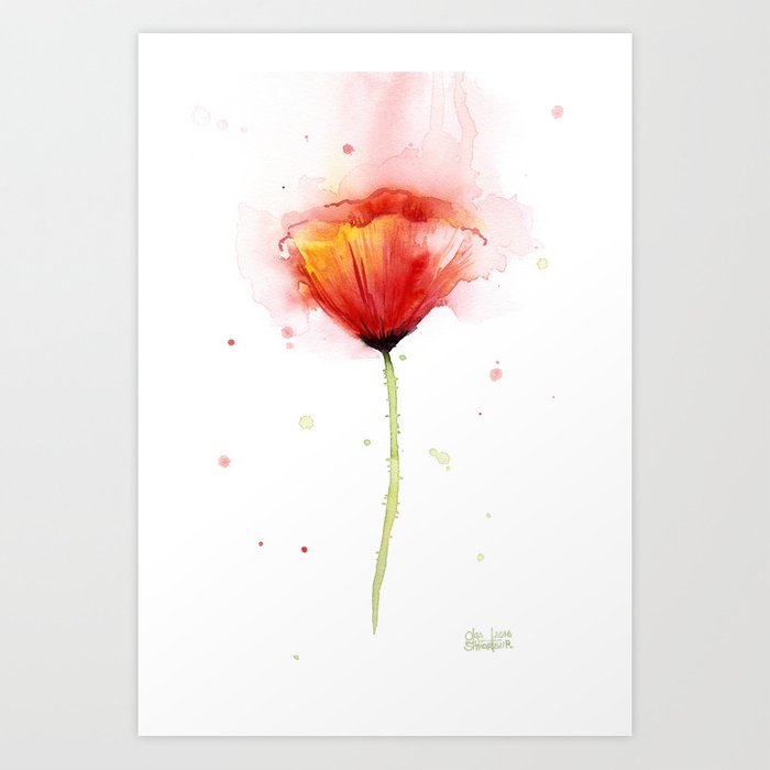 Red poppy flower watercolor abstract poppies floral art print by red poppy flower watercolor abstract poppies floral art print mightylinksfo