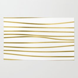 Small simply uneven luxury gold glitter stripes on clear white - horizontal pattern Rug