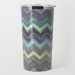 Colorful Gold Chevron Pattern Travel Mug