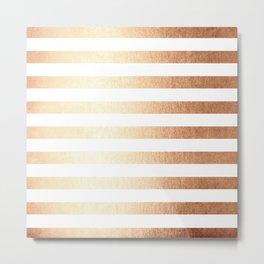 Simply Striped Deep Bronze Amber Metal Print
