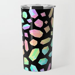 Rainbow Crystal Pattern on Black Travel Mug