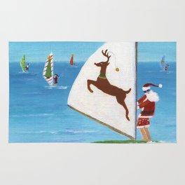 Christmas Wind Sailing Santas Rug