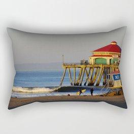 Morning Surfing Huntington Beach Pier Rectangular Pillow