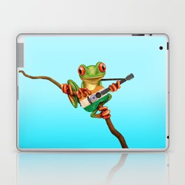 Tree Frog Playing Acoustic Guitar with Flag of India Laptop & iPad Skin