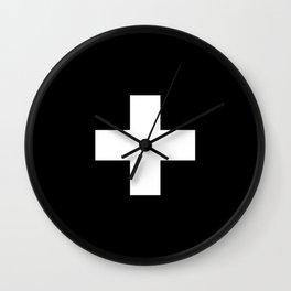 Swiss Cross Black and White Scandinavian Design for minimalism home room wall decor art apartment Wall Clock