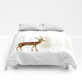 Wandering deer in the trees Comforters