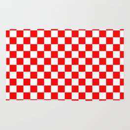 Jumbo Australian Racing Flag Red and White Checked Checkerboard Pattern Rug