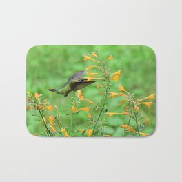 Hovering hummingbird and orange agastache 57 Bath Mat