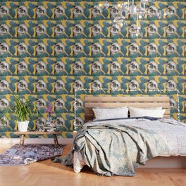 Sneaky Baby Sloth and Cactus in Yellow Wallpaper