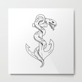 Rattlesnake Coiling on Anchor Drawing Metal Print