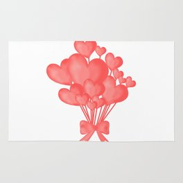 Valentine's day background with heart balloons with ribbon. Rug