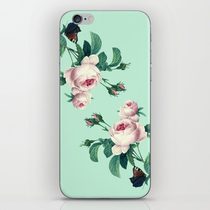 Roses Mint Green + Pink iPhone Skin