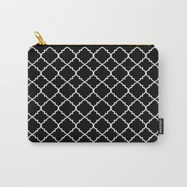 Black and White Moroccan Quatrefoil Carry-All Pouch